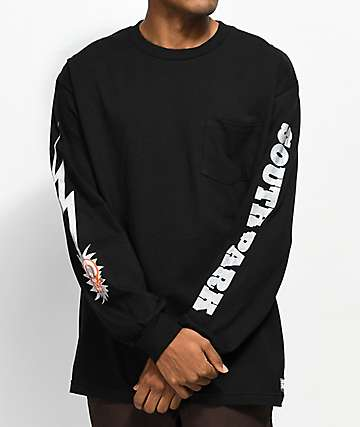 HUF x South Park Dead Kenny Black Long Sleeve Pocket T-Shirt