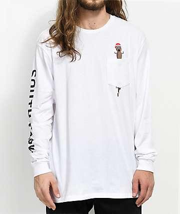 HUF x South Park Mr. Hankey White Long Sleeve Pocket T-Shirt