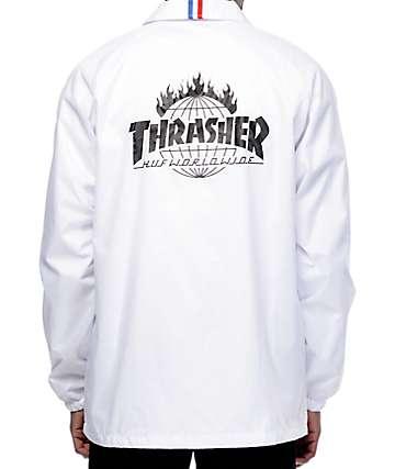 HUF x Thrasher TDS White Coaches Jacket