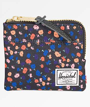 Herschel Supply Co. Johnny Black Mini Floral Wallet
