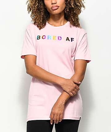 JV by Jac Vanek Bored AF Foiled Pink T-Shirt