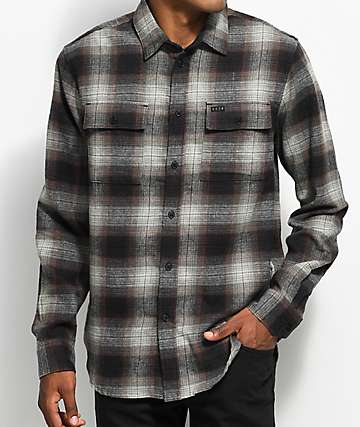 KR3W Ambush Grey, Burgundy & Black Flannel Shirt