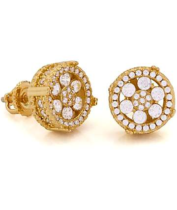 King Ice 14K Gold Button CZ Earrings
