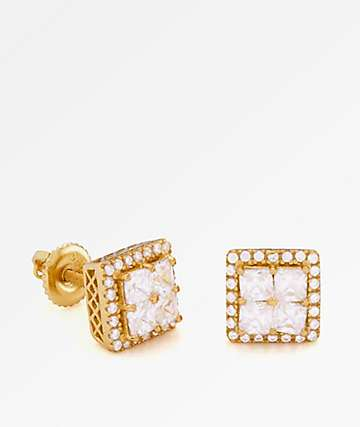 King Ice 14K Gold Layered CZ Earrings