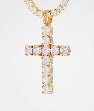 King Ice 14K Gold Tennis Cross Necklace
