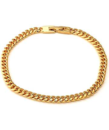 King Ice 5mm 14K Gold Cuban Curb Chain Bracelet