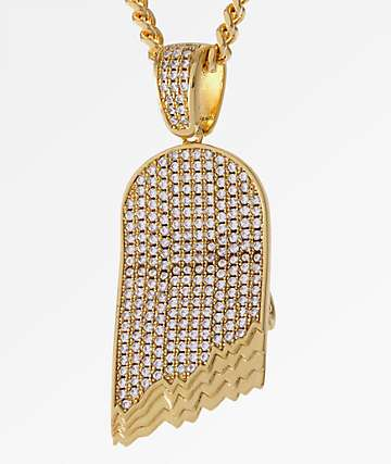 King Ice CZ Broken Skateboard 14K Gold Necklace