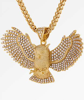King Ice Great Horned Owl CZ 14K Gold Necklace