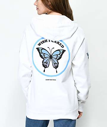 Know Bad Daze Wish Butterfly White Hoodie