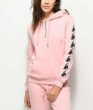 MTTM x Penthouse Dancer Half Zip Pink Hoodie