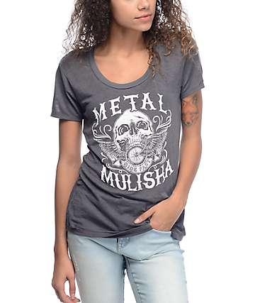 Metal Mulisha Charm Grey Burnout T-Shirt