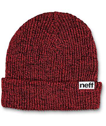 Neff Heather Red & Black Fold Beanie