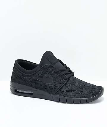 Nike SB Janoski Air Max All Black Skate Shoes
