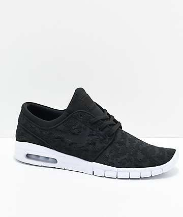 Nike SB Janoski Air Max Black & White Skate Shoes