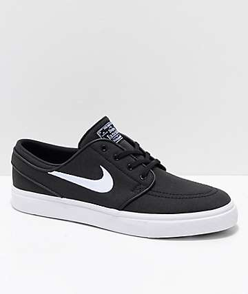 Nike SB Janoski Black & White Ripstop Canvas Skate Shoes