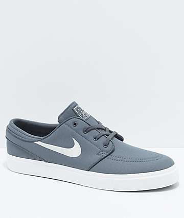 Nike SB Janoski Grey & White Ripstop Canvas Skate Shoes