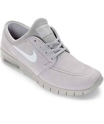 Nike SB Stefan Janoski Air Max Matte Silver & Pure Platinum Grey Skate Shoes