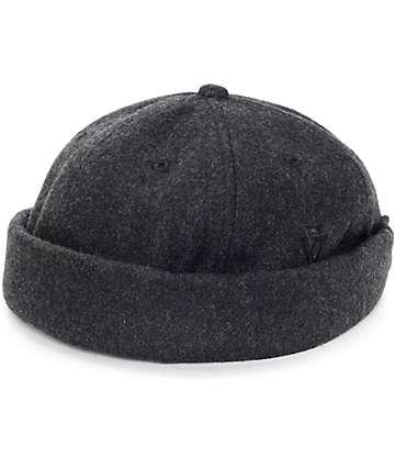 Ninth Hall Black Pigment Dyed Twill Brimless Hat