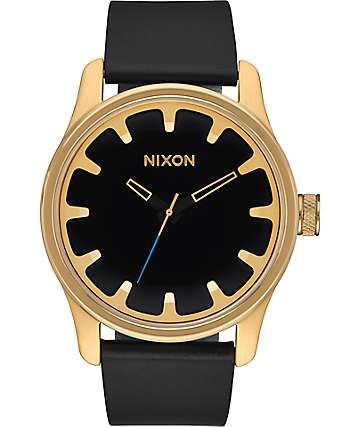 Nixon Driver Leather Gold & Black Watch
