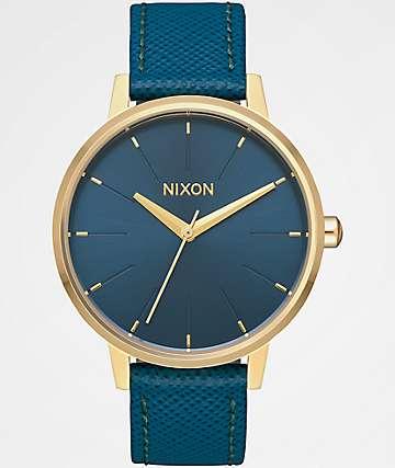 Nixon Kensington Leather Light Gold & Mallard Watch
