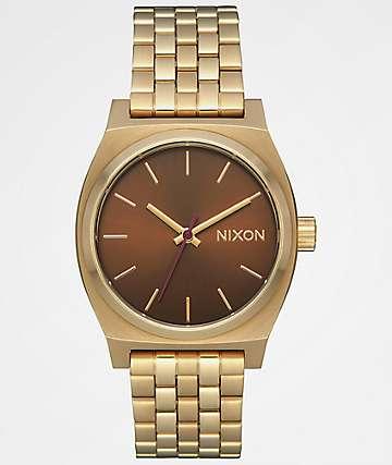 Nixon Medium Time Teller Gold & Brown Analog Watch