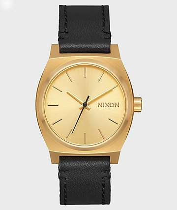 Nixon Medium Time Teller Leather Gold & Black Watch