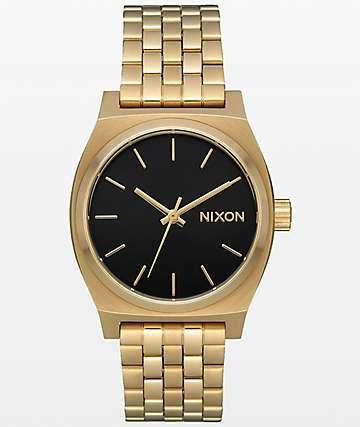 Nixon Medium Time Teller Light Gold & Black Sunray Watch