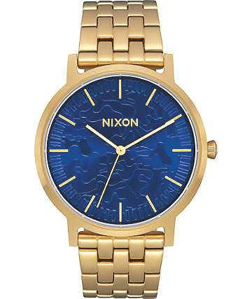 Nixon Porter Gold & Camo Sunray Analog Watch