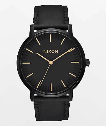 Nixon Porter Leather All Black & Gold Watch