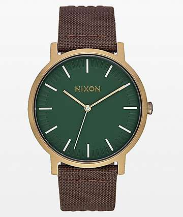 Nixon Porter Leather Palm, Brass & Brown Analog Watch