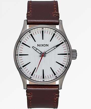 Nixon Sentry 38 Leather Gunmetal, Silver & Brown Watch