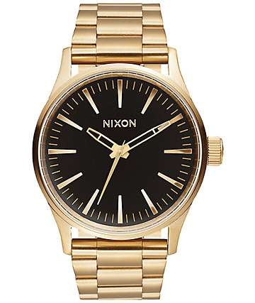 Nixon Sentry 38 SS Gold & Black Sunray Watch