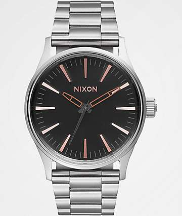 Nixon Sentry 38 SS Silver, Black & Gold Analog Watch