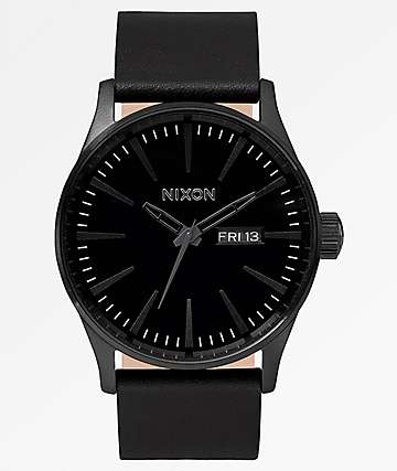 Nixon Sentry Leather All Black Analog Watch