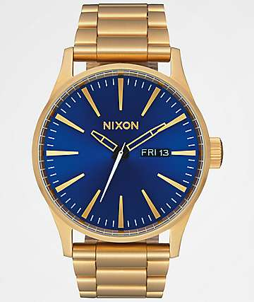 Nixon Sentry SS All Gold & Blue Sunray Analog Watch