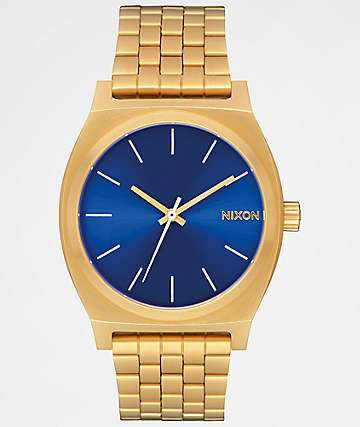 Nixon Time Teller All Gold & Blue Sunray Analog Watch