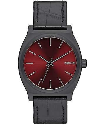 Nixon Time Teller Black Gator & Burgundy Watch