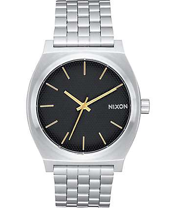Nixon Time Teller Black Stamped & Gold Analog Watch