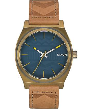 Nixon Time Teller Leather Brass & Navy Watch