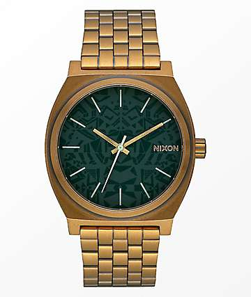 Nixon Time Teller Palm Green & Brass Analog Watch