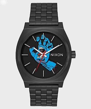 Nixon Time Teller X Santa Cruz Black Screaming Hand Watch