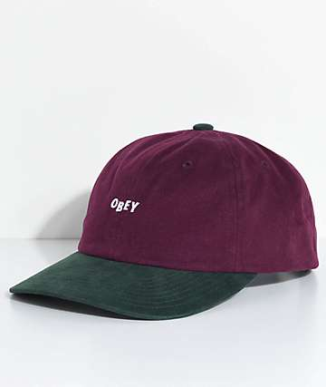 Obey 90s Jumble Eggplant & Forest Six Panel Hat