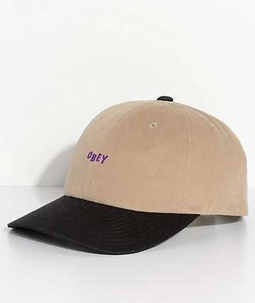Obey 90s Jumble Six Panel Khaki & Black Snapback Hat