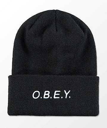 Obey Alert Black Beanie