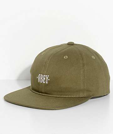 Obey Baseline Army Green Six Panel Hat