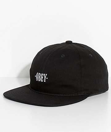 Obey Baseline Black Six Panel Hat
