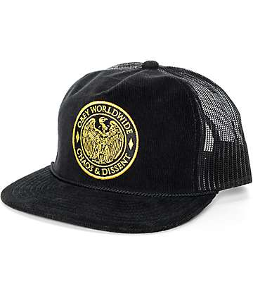 Obey Chaos Black Trucker Hat