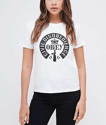Obey Civil Disobedience Shrunken White T-Shirt