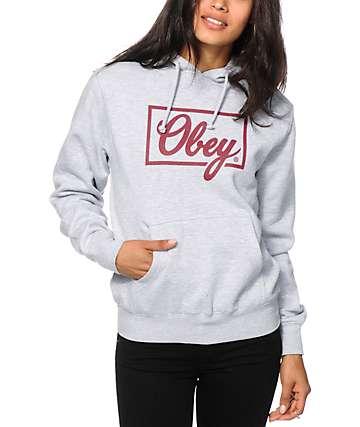 Obey Club Script Grey Hoodie