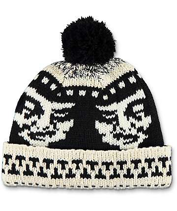 Obey Creeper Black Pom Beanie